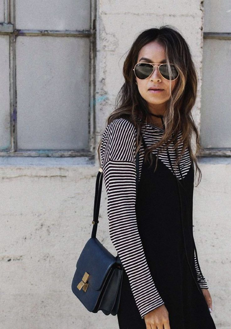 eb0b6f3633c3f A woman wears sunglasses and a cute floral dress with a striped top  underneath