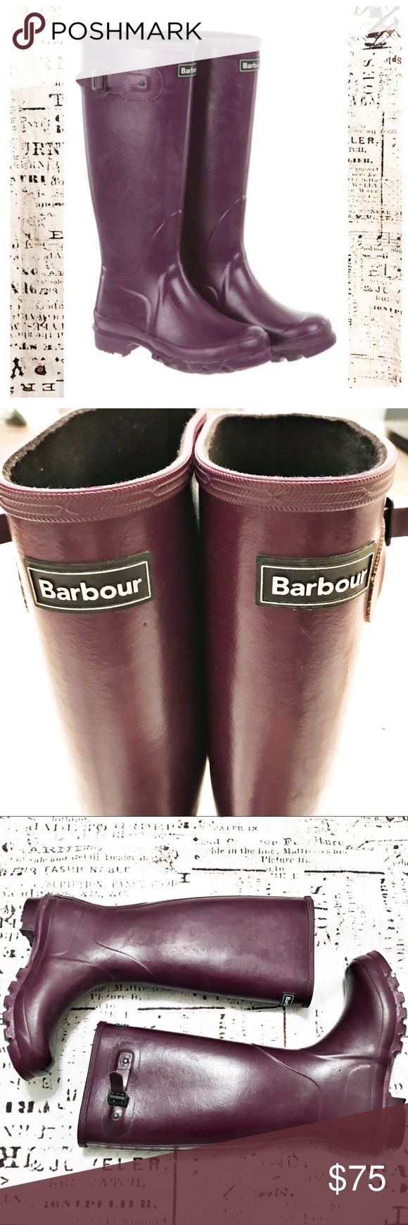 Barbour Town and Country Wellington Boots Purple Beautiful rain boots by Barbour. Style is Town and Country Wellington. Purple in color with Barbour logo on front shin and adjustable side strap. Slight signs of discoloration due to wear, but in structurally excellent condition. Size 10. Barbour Shoes Winter & Rain Boots