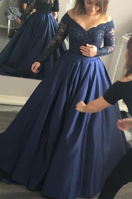 Navy Blue Ball Gown Prom Dresses ,Long Sleeves Lace Prom Dresses,V Neck Prom Gowns,Dark Blue Quinceanera Dresses,Communication Dress,Custom Made High Quality Evening Gowns