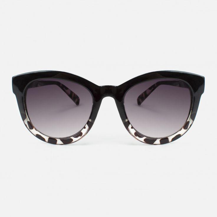 Glamour–Lunettes de soleil en mono Disque avec Strass, 2couleurs, Designer–Lunettes de soleil - Noir - One Size