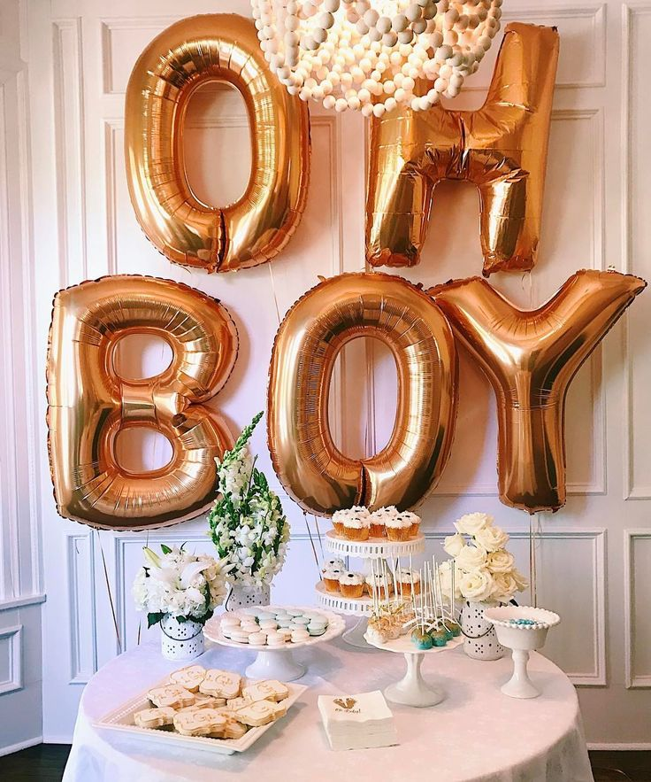 Baby boy shower decor.