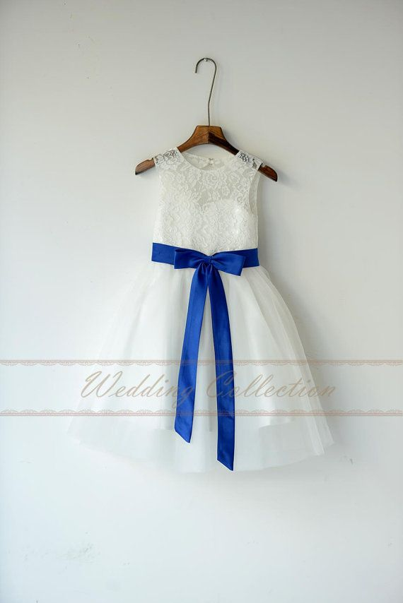 Lace Tulle Flower Girl Dress With Royal Blue par Weddingcollection