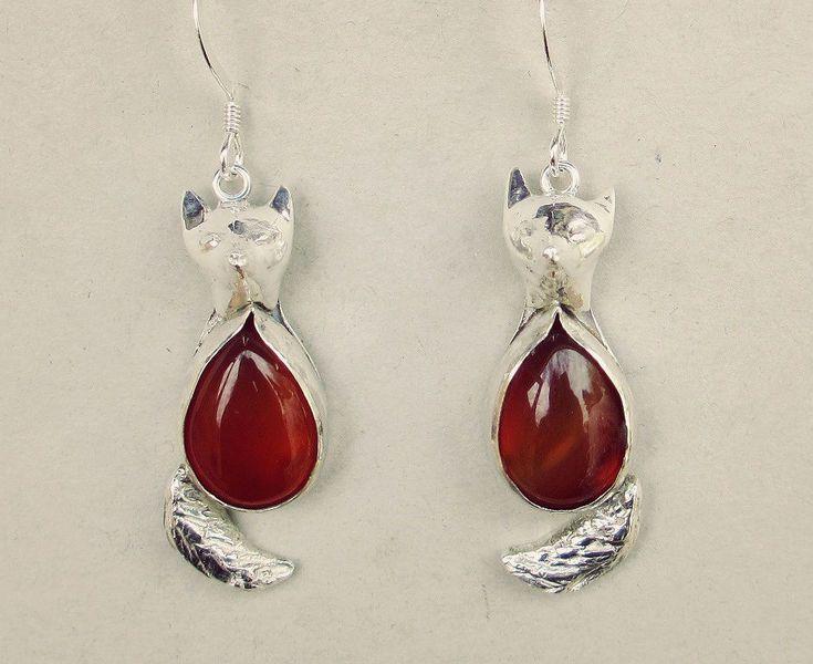 Zilveren vos oorbellen, rode cornalijn handgemaakt bij Zilvera - silver earings, foxes, red cornalin handmade by Evelina Tetsman DaWanda.com