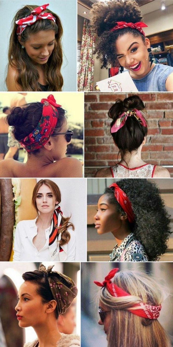 Braune Lockige Haare Weisses Hemd Rotes Bandana Frisuren Frisuren Mit Bandana Haarband Frisur Anleitung Haarband Frisur