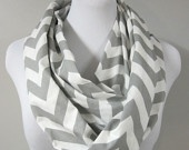 Grey Chevron Zig Zag Infinity Scarf  - Long Modern Circle Scarves