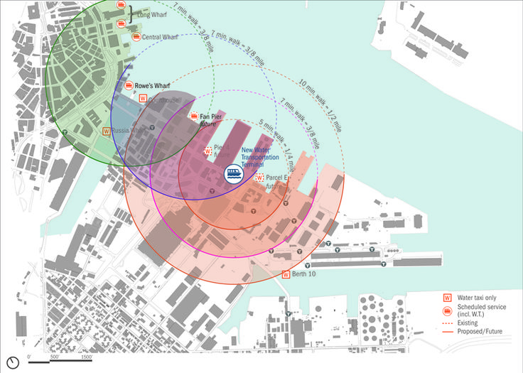 Walking radii and creating a network of connections. Massport Water Transport Terminal : Utile Design