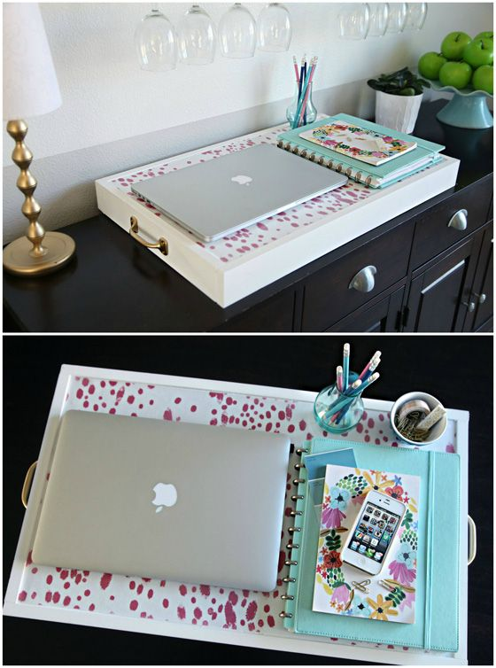 IHeart Organizing: DIY Portable Workspace/Collapsible Tray - LOVE this idea!!!