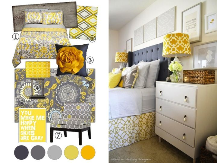 Yellow Gray And White Bedroom Ideas Part - 46: Little Notes: Yellow + Grey Bedroom Project