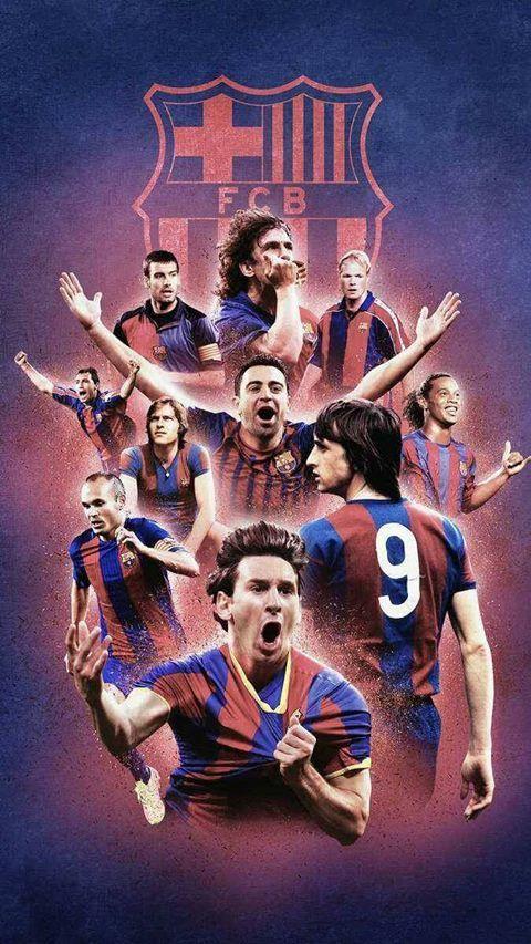 FCB Barça FC Barcelona  Football Wallpapers Puyol, Xavi, Cryuff, Stoichov, Iniesta, Messi, Neeskens,  Koeman, Pep, Ronaldinho