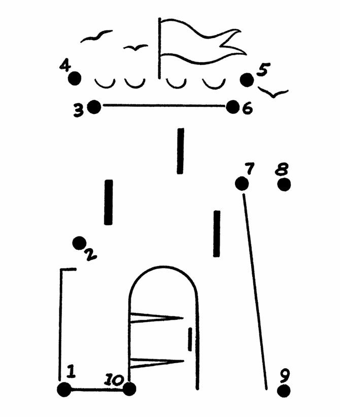 castle dot to dot colouring pages