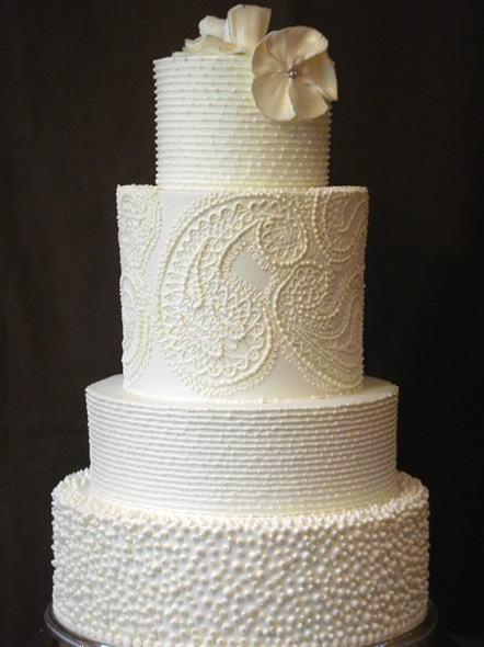 I adore this all white wedding cake! The different patterns and textures
