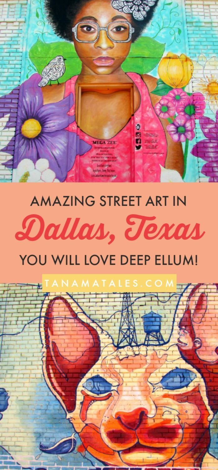Free and fun things to do in #Dallas, #Texas - Discover the best street art in Dallas at the Deep Ellum neighborhood (part of Downtown). The area contains more than 40 elaborated murals. You will understand right away why this is one of the most popular attractions in the city.  A must see if you like color and creativity. This area is for adults, teens, families and even those looking for romantic / creative places for photos. #streetart #deepellum