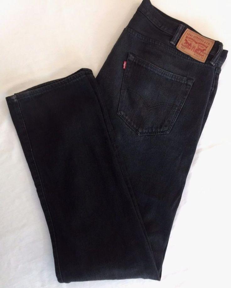 41 x 36 Levis 501 Jeans Black Denim Broken In Mens Levi Strauss Button Fly #Levis #ClassicStraightLeg