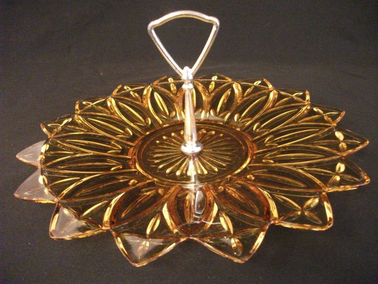 Federal Glass Tidbit Tray Petal Pattern - Amber Petal - Tray with Handle - Yellow Amber Glass Tray - Tidbit plate -Sabby Chic by Kapharnaum on Etsy