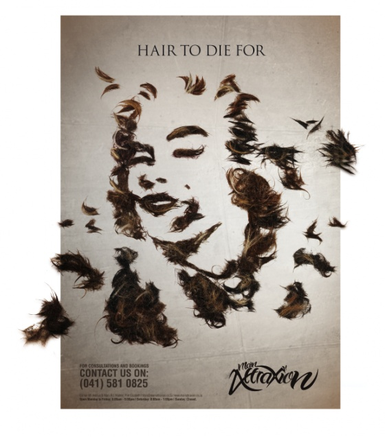 "THE BIG IDEA: The aim of this campaign was to challenge the conventional approach adopted by most hair salons and to create something that would turn heads. Combining the idea of hair trimmings having fallen to the ground and celebrities known for their iconic hairstyles. Marilyn Monroe and James Dean were created into works of hair art with the campaign headlines of ""Legendary hair"" and ""Hair to die for""."