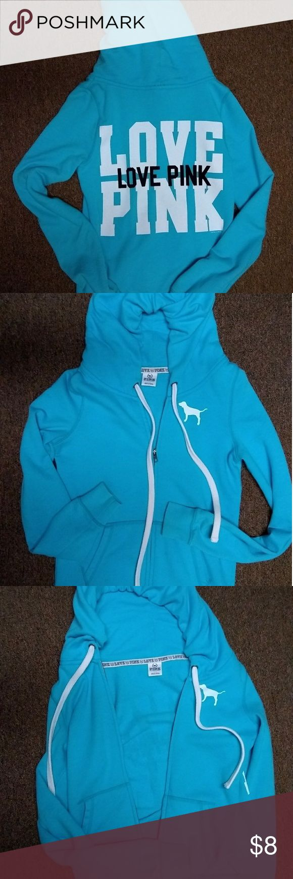 VS Pink light blue zip up hoodie size SmP Super cute hoodie. There is a small stains on the front pocket. Hard to notice at a glance. I did capture in blown up pic.. Still a great hoodie! PINK Tops Sweatshirts & Hoodies