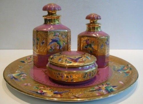 MUST SEE 1955 LE TALLEC PARIS Handpainted Limoges Porcelain Dresser Vanity Set