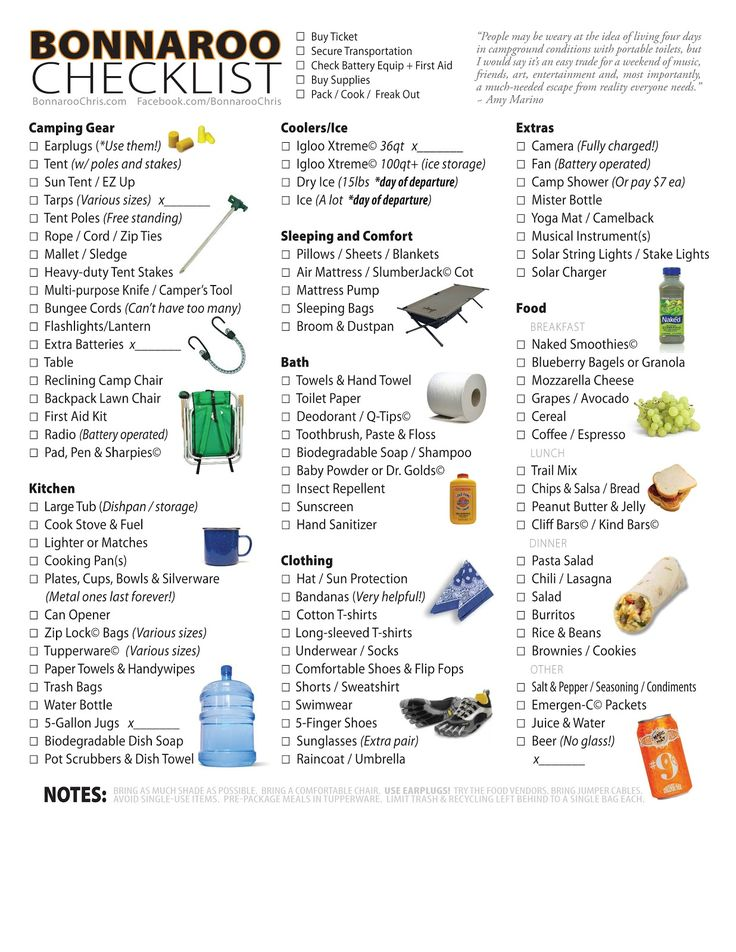 CHECKLIST - Equipment & Food for Bonnaroo | I Love Bonnaroo