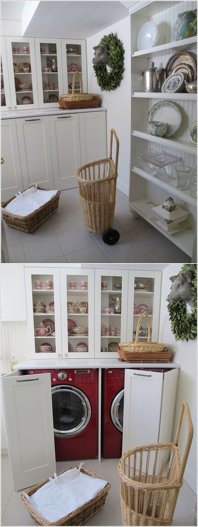 Create Your Laundry Space Inside The Kitchen by Hiding The Washer and Dryer Behind Bi-fold Doors