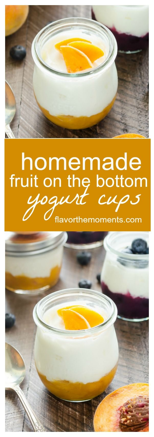 Homemade Fruit on the Bottom Yogurt Cups are homemade fruit compotes topped with plain yogurt and granola. They're a delicious breakfast on the go and are perfect for lunch boxes! @FlavortheMoment