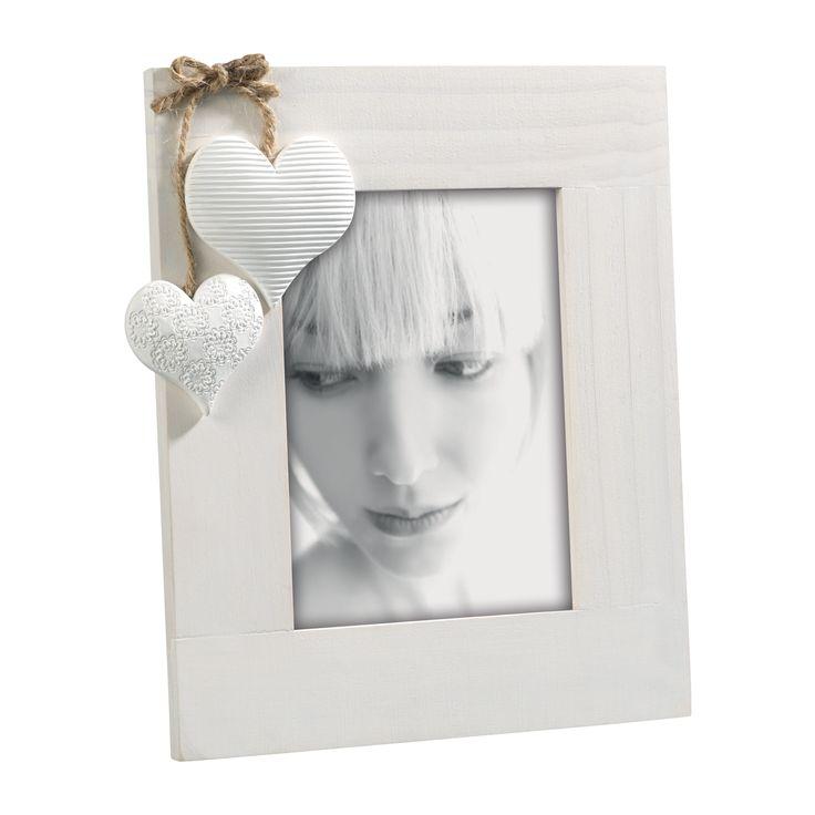 PORTAFOTO IN LEGNO DI PINO A100   Portaritratti in legno sbiancato con decorazione cuori in resina .
