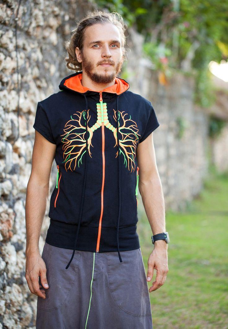 Дизайнерский мужской жилет с капюшоном Мужское Яркий жилет на подкладке из хлопка, с вышитым изображением в виде лёгких на груди и нервной клеткой на спине