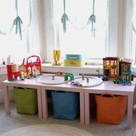 ikea tables $12.99, land of nod baskets for storage underneath.