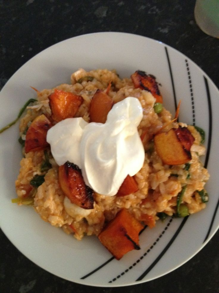 Sundried Tomato Risotto with Chicken, Mushroom and Maple Roasted Pumpkin