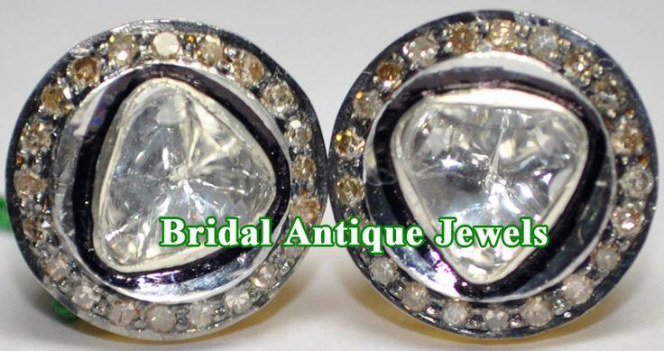 1.15c SINGLE/SOLITAIRE ANTIQUE DIAMOND VICTORIAN WEDDING 925 SILVER STUD/EARRING #BridalAntiqueJewels