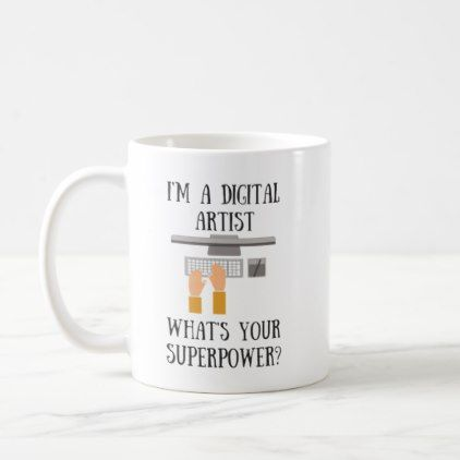 Digital Graphic Artist Superpower Superhero Mug  $17.75  by Your_Superpowers  - custom gift idea