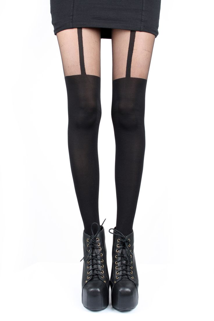 Fashion look from june 2014 featuring thigh high hosiery purple - Super Sexy Pretty Polly Mock Suspender Tights In A Opaque And Sheer Black Finish Team