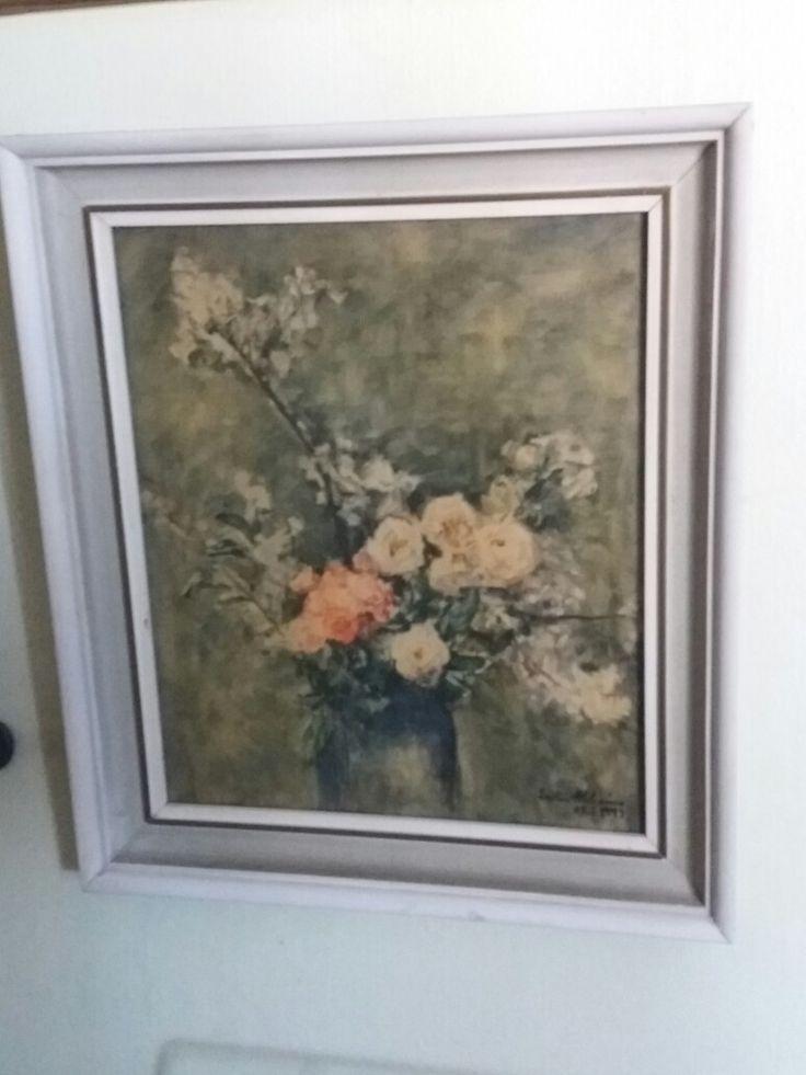 Mummolan taulu. Painokuva kopio Ester Heleniuksen Omenankukkia ja ruusuja maalauksesta vuodelta  1947.