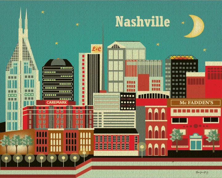 Nashville, Tennesse Skyline - Wall Art Poster Print for Home, Nursery, and  Office Top Seller. $19.99, via Etsy.