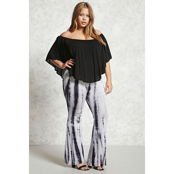 Forever21 Plus Size Flared Leggings ($20) ❤ liked on Polyvore featuring plus size women's fashion, plus size clothing, plus size pants, plus size leggings, flare leg pants, flared trousers, tie-dye leggings, elastic waistband pants and forever 21