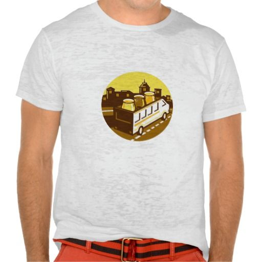 Beer Flight Glass On Van Cityscape Circle Retro T Shirt. Illustration of beer flight glass each holding a different beer type on top of van set inside circle with cityscape in the background done in retro style. #Illustration #BeerFlightGlassOnVan