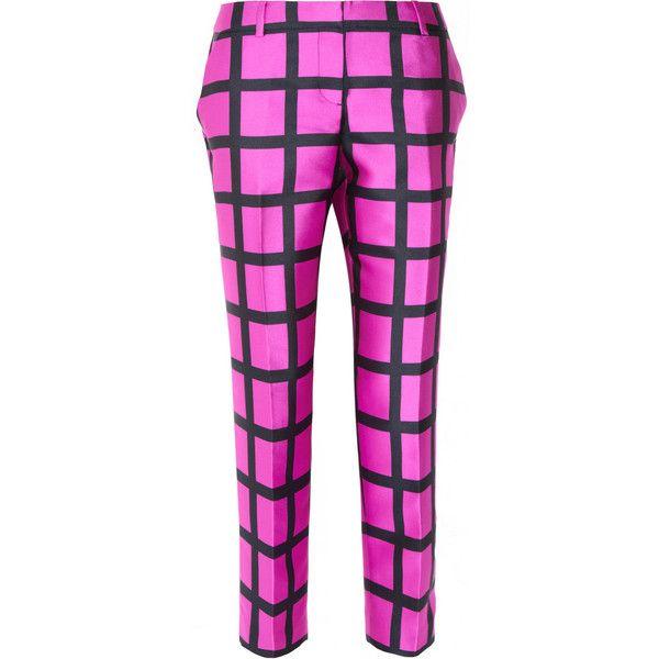 J.Crew Café windowpane-check Capri pants ($398) ❤ liked on Polyvore