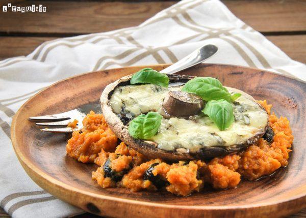 Portobello con gorgonzola y puré de boniato