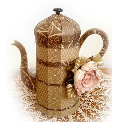 Another fabulous French Coffee Pot by Misty, this time totally different!  That's the beauty of these files, you design with the paper you choose!    The patterned papers Misty uses with the pop of color the flower adds infuses elegance.  You can find this in FARMHOUSE KITCHEN SVG KIT.