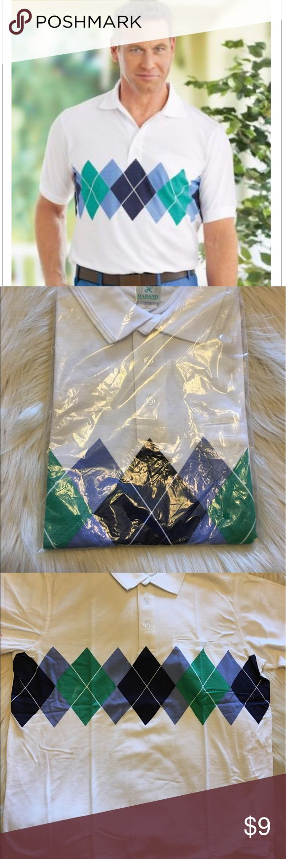 Men's Argyle Speyside Polo Size Large, New in package, there is a defect in the print shown in the photo, Argyle isn't just for the golf course anymore! With our stylish patterned polo you'll be well suited for those special occasions when you still want to be comfortable. Or just wear it when you run errands — it's perfect for everything! Welt chest pocket keeps your essentials close. Cotton/polyester is machine care. Haband Shirts Polos