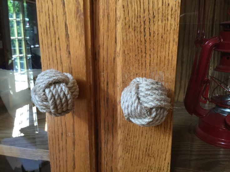 Nautical Rope Drawer Pulls in Jute Rope - Rope Doorknobs