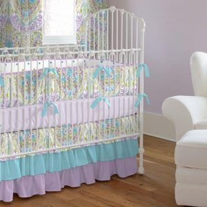 Aqua Purple And Grey Crib Bedding