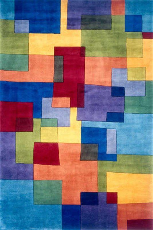Bright Tones Contemporary Style Momeni Area Rug Perspective Puzzle Multi X