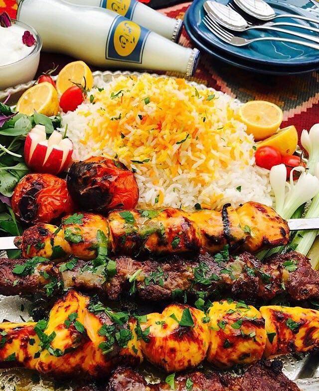 چلوکباب ایرانی با دوغ آبعلی