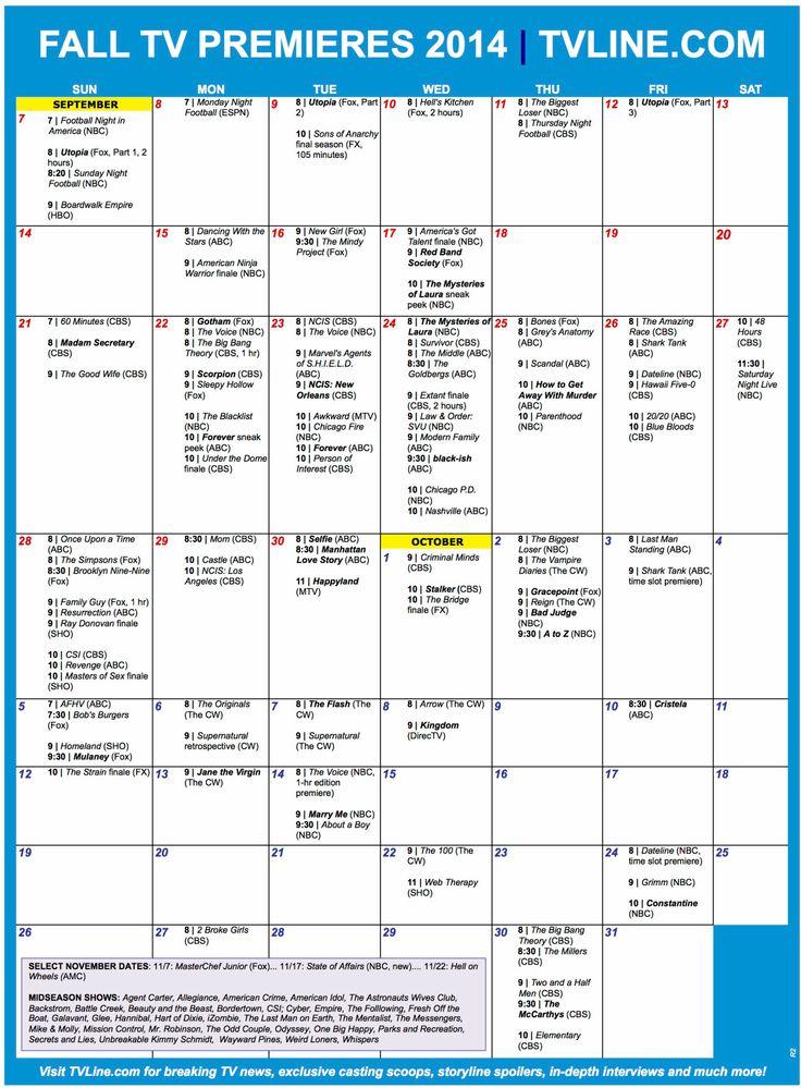 Fall TV Schedule 2014