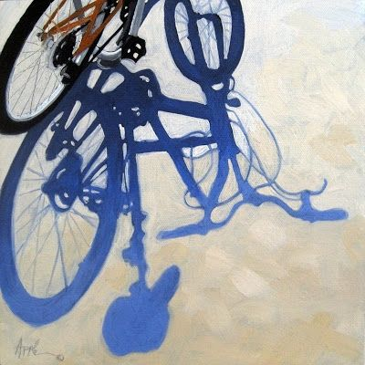 Bicycle Blues original oil painting, painting by artist Linda Apple