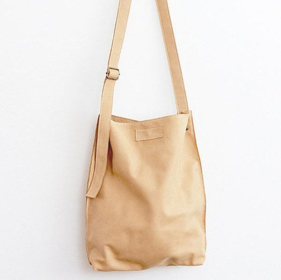 Soft Nude Leather Hobo Bag  Classic Carry All  by LABOURofART