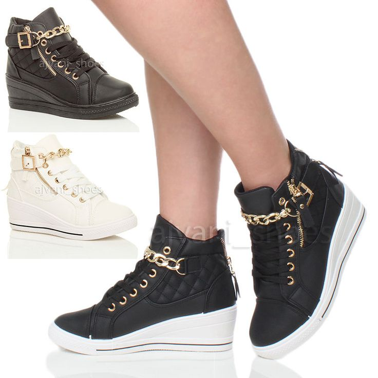 WOMENS LADIES MID HEEL WEDGE PLATFORM LACE UP HIGH TOP ANKLE TRAINERS BOOTS SIZE in Clothes, Shoes & Accessories, Women's Shoes, Trainers | eBay