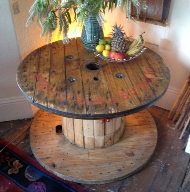 Recycled cable drum coffee table (1m diameter x 58cm height) £275.00