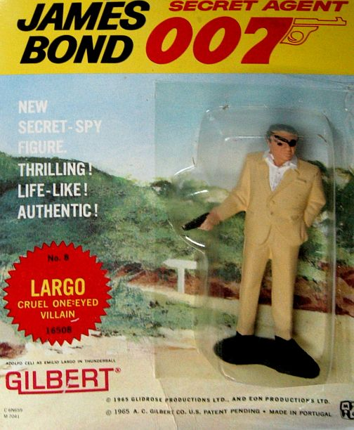 "Original 1965 James Bond ""Largo"" Action Figure, by Gilbert. From the great James Bond 007 craze of the '60's comes this AUTHENTIC 1965 figure of ""Largo"", one of 007's meanest adversaries in ""Thunderball"" (and in ""Never Say Never Again"", as well!) MINT ON SEALED CARD!! These Gilbert action figures and some of the toys and playsets they came out with in the same time period were among the FIRST OFFICIALLY-LICENSED JAMES BOND TOYS! Only one in stock. $75.00"