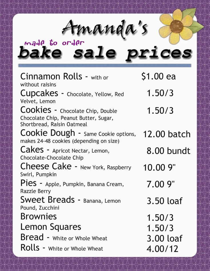 image result for bake sale pricing guide